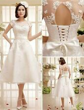 Stock New White/Ivory lace Short Wedding Dress Bridal ball Gown Size 6 16