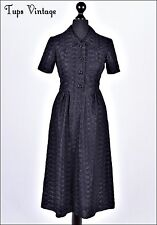 VINTAGE 70s 1940's BLACK EMBROIDERED LACE TEA DRESS 8