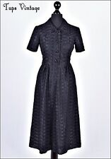 VINTAGE 70s anni 1940 Nero Ricamato in Pizzo Tea Dress 8