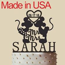"""Custom Wedding Cake Topper with name and date, Mickey & Minnie, made in USA 5"""""""