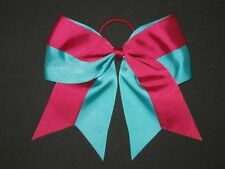 "NEW ""Two-Tone BURGUNDY & TEAL"" Cheer Bow Pony Ribbon Girls Hair Cheerleading"