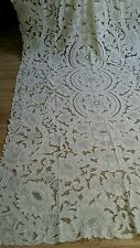 """Vintage  elaborate  cut out embroidery linen  tablecloth 128""""×64"""""""