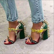 Auth NIB GUCCI by Alessandro Michele Malin Studded Leather Sandals Green 41.5