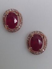 NEW 10K Rose Gold Oval Shape Cherry Red Ruby and Diamond Halo Stud Earrings