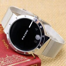PAIDU Silver Mesh Band Simple Cool Dial Quartz Wrist Watch Mens Womens Gift