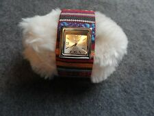 New Geneva Platinum Ladies Quartz Watch with a Colorful Band