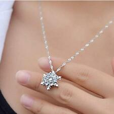 Nice 925 Silver Plated Crystal Frozen Snowflake Necklace Pendant LF