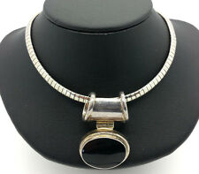 Fine Oval Black Onyx Omega Sterling Silver 925 Necklace 36g N1191