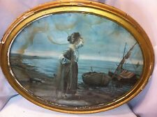 Large Wood Oval Glass Frame With Woman by Boat Print
