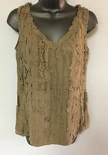 SUNDANCE OLIVE GREEN TANK TOP SIZE SMALL 100% SILK