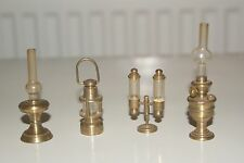 4 Vintage Dolls House Brass Miniature Collectables: Oil + Miners + Desk Lamp