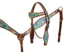 Showman PONY SIZE Psychedelic swirl headstall and breast collar set! HORSE TACK!