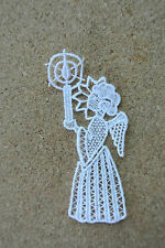 Lace motif - Christmas - Angel & candle - applique/sew on trim/craft/card making