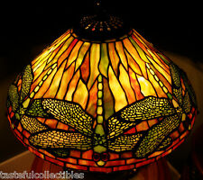 "Quoizel Tiffany Reproduction Stained Glass Lamp Shade Dragonfly 16"" -  Golds"