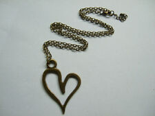 ANTIQUE BRONZE ABSTRACT LARGE METAL HEART PENDANT LONG CHAIN LAGENLOOK NECKLACE