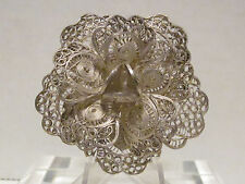 Flower Brooch Silver Tone Filigree Made In Mexico