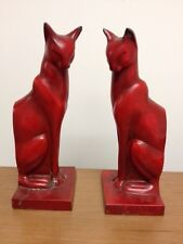 """Vintage Pair of Art Deco Cat  Bookends Statue Metal Red Finish 8"""""""