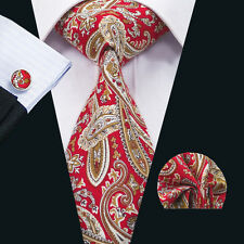 SN-1351 Red Paisley Mens Tie Cotton Necktie Cufflinks and hanky Wedding Party