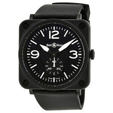 Bell and Ross Aviation Black Dial Rubber Mens Watch BLRBRS-BL