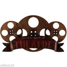 "HOME THEATER DECOR  ""BRONZE HOME THEATRE METAL ART""  ENTERTAINMENT ROOM DECOR"
