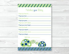 Mod Green Turtle Mom and Baby Printable Baby Shower Wishes for Baby Advice Cards