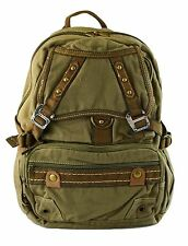 Mens Canvas Vintage Look Casual Full Size Book & Laptop Backpack (K6047) - Green