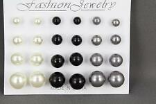 Cream Black Grey earrings12 pair set pack graduated faux pearl bead stud post