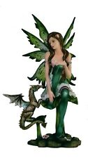 "10"" Green Fairy with Dragon Statue Figurine Figure Fantasy Magical Sculpture"