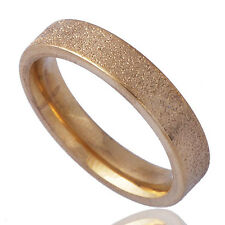 Matte type 18K Gold Plated Womens Unisex Band Ring Size 8#