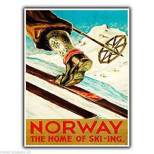 Noruega Esquí Esquí-ing Vintage Retro Anuncio Cartel Placa cartel impresión de pared de metal