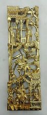 ANTIQUE CHINESE CARVED GILT WOOD WALL PANEL GOLD WARRIORS BATTLE c1900 h45cm