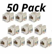 50x Cat5e Punch Down Network Snap-in Insert Jack for Keystone Wall Plate White