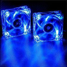 2pcs Blue Quad 4-LED Light Neon Quite Clear 120mm Computer Case Cooling Fan Mod