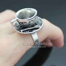 Alice In Wonderland Silver Hatter Tea Cup Party RING UO