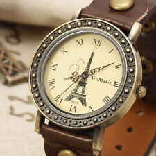 FASHION Brown Genuine Leather Women Quartz Watch Bracelet Vintage Retro Dial Uhr