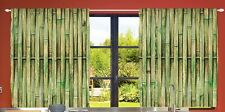 Bamboo Kitchen CURTAIN PANEL Set Slats Asian Sticks Fence Zen Spa Window Decor
