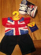 BUILD A BEAR FACTORY UNION JACK TEE & JEANS OUTFIT WITH HI TOPS BNWT UK EXCL