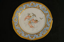 Victorian Hand Painted Cherubs & Doves Plate With Blue & Gold Border Circa 1893