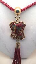 Vintage Cloisonne Red Butterfly on Flower Pendant Necklace with Silk Tassel