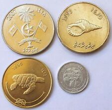 MALDIVES 4  DIFF. SUPER CONDITION COINS
