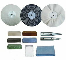 "Bench Grinder Conversion Metal Polishing Kit - 6"" x 1"" Mops - 12.5mm Adapters"