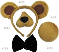 BEAR SET EARS ON HEADBAND NOSE TAIL BOW + SOUND ANIMAL HALLOWEEN FANCY DRESS
