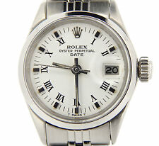 Vintage Rolex Date Ladies Stainless Steel Watch w/ White & Black Roman Dial 6516