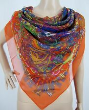 (620537)Orange 130cm Square Ladies Large Silk Style Scarf Shawl Wrap Hijab