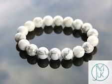White Howlite 10mm Natural Gemstone Bracelet Beaded 7-8'' Elasticated Healing