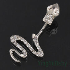Snake belly button ring 14G 316L surgical steel pole Navel piercing Nickel-free