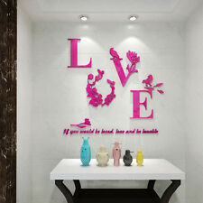 DIY 3D Love Flower Decor Wall Stickers Decal Home Wedding Room Art Decor Lover