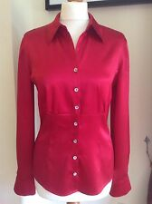 Hobbs red silk blouse size 12