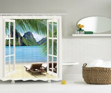 Palm Trees Ocean View Shower Curtain Paradise Seascape Sandy Beach Bath Decor
