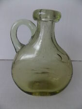 Vintage Antique Collectable Retro Glass Olive Coloured Bottle Dimple Sides